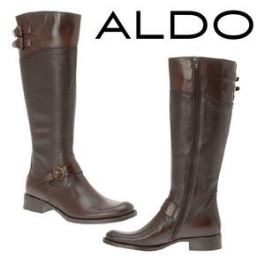 ALDO Prettner Brown Leather Zip up Riding Boots